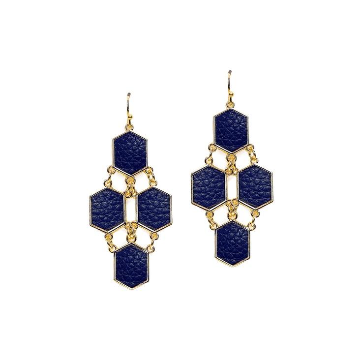 Little Black Bag | Navy Leather Geometric Earrings by Rain :): Black Bags, Leather Earrings, Geometric Earrings Repin, Geometric Earrings In, Navy Earrings, Earrings Repin By Pinterest
