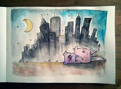 #Sleeping Rabbits. Ellas rabbit on my background. Watercolour - A3.