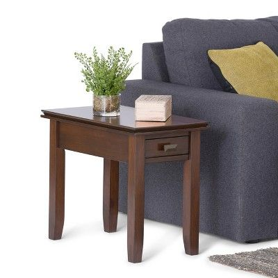 Artisan Narrow Side Table - Medium Auburn Brown - Simpli Home