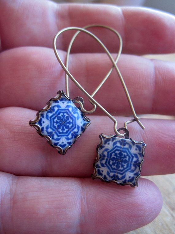 Dangle earrings Mural jewelry Azulejos tiles by CorinaCrooks, $28.00