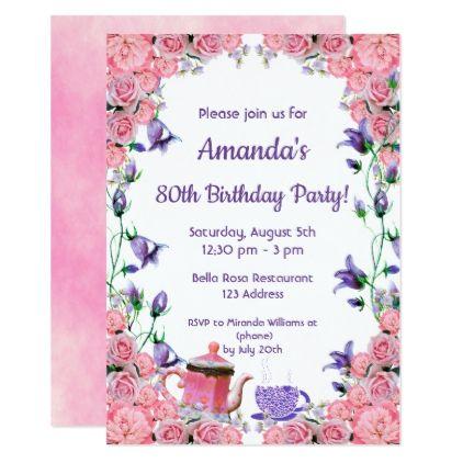 80th Birthday Tea Party Invitation Card Pink