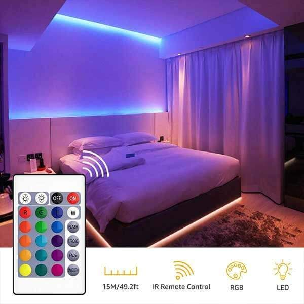 50ft Rgb Led Strip Lights Kit Flexible Color Changing Lights