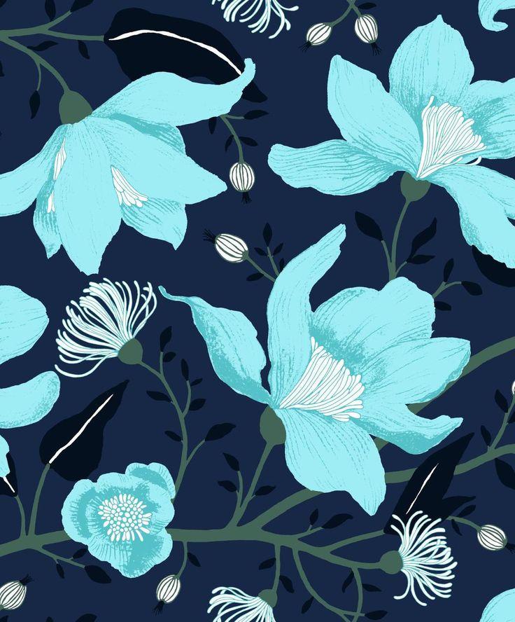 VALLILA - Sarastus wall paper Clematis blue