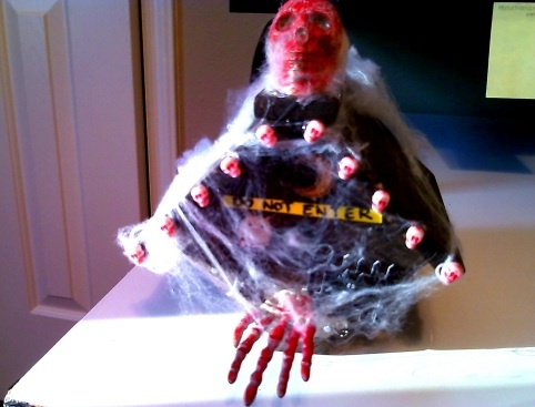 Halloween themed birdhouse that I made for a school assignment. Only desperate birds visit here...