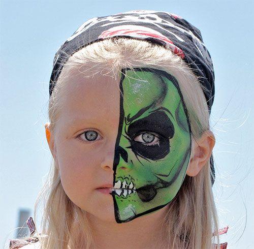 Trucco da mostro per Halloween su metà viso