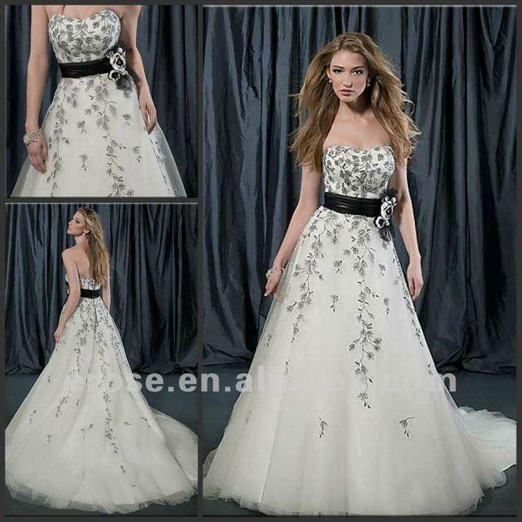 Eb 025 strapless sweetheart black and white plus size for Black and white plus size wedding dresses