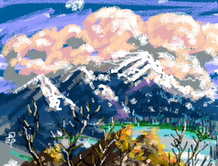 Mountain with digital crayons.