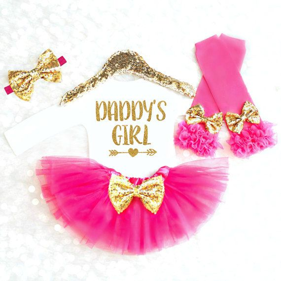 Sparkly and sweet outfit for and Daddy's Girl.  The perfect gift for a new father, or the perfect outfit to come home in! Always the favorite gift at every baby shower!  Se...