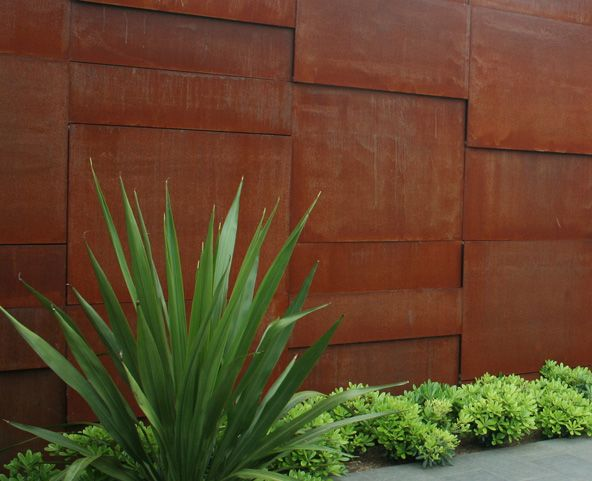 corten steel wall, designed by Garden Life