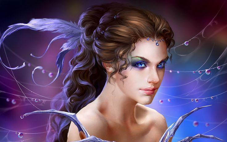 The Deepest Blue Wild Dreamer Uildrim Fantasy Art Girl Magic Fantasy Art  Girl Sorceress Magic Decoration Hair Feathers Web Rosa Drops HD Wallpaper