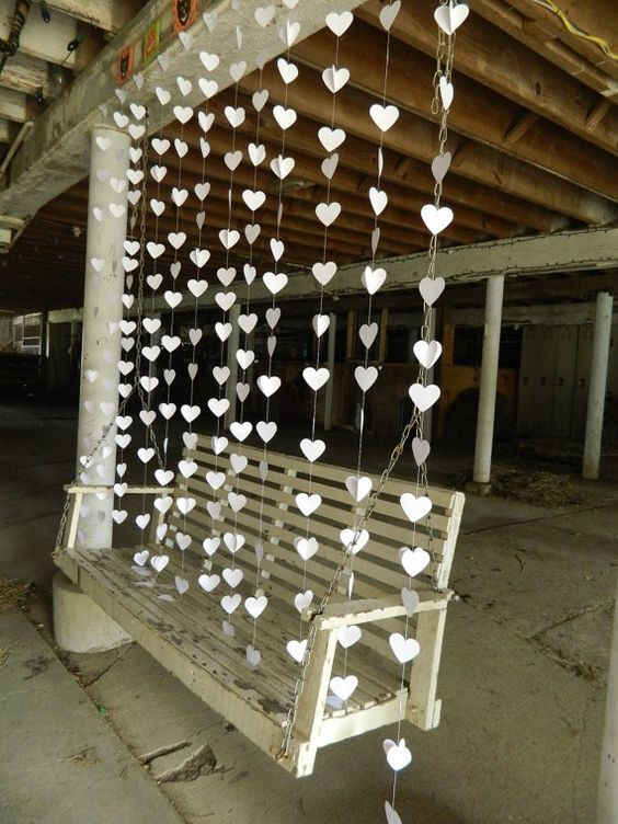 "Wedding Garland/Paper Heart ""Curtain""/12 Garlands/ Curtain Backdrop/Wedding Reception Decoration/Photo Prop/Ceremony Backdrop/ Paper Garland...:"