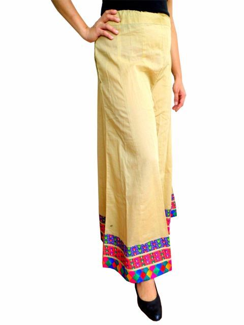 Only for Rs 899, Beige Cotton Palazzo Pants  :These pretty cotton palazzo pants have a vibrant border that contrasts beautifully with the plain background.