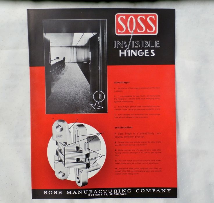Soss Invisible Hinges 1960s Advertising Brochure by MendozamVintage on Etsy