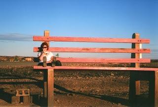 Wanna look small? Climb up on #BrokenHill's BIG Park Bench, #downunder in #Australia!