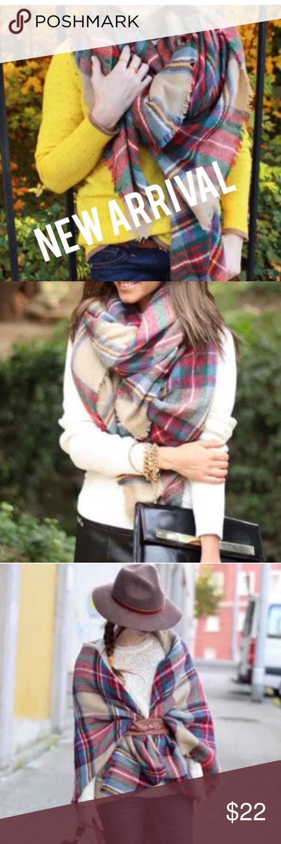 ✨SQUARE BLANKET SCARF- TAN TARTAN PLAID✨ 🍂🍁BEST SELLER🍂🍁.                                      Brand New and Great quality Material: Wool Blend 55 inches by 55 inches.                                               Oversized blanket scarf.  Tan and Red Tartan Plaid. A Must Have! Can also be worn as a wrap or as a blanket. Not Zara just using it for exposure. Blanket Scarves. Reasonable offers will always be considered and please check out my other listings🍁🍂✨Bundle, get a discount, and…
