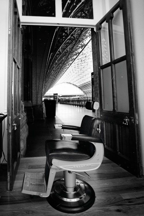 Classic Belmont barber chair at Melogy Melogy Men's salon in St Pancras Renaissance Hotel, London