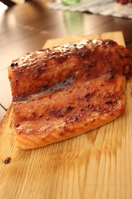 The Best Grilled Cedar Plank Salmon With Raspberry Chipotle Glaze