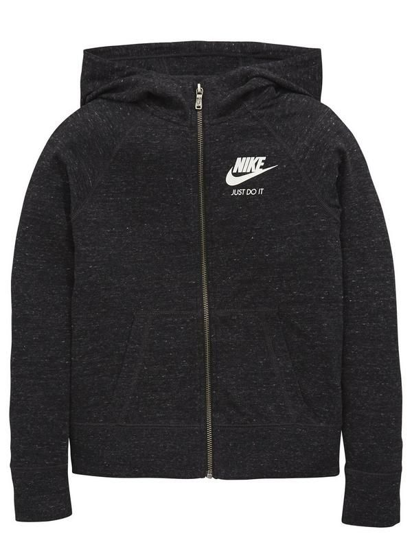 Girls' Nike Sportswear Gym Vintage Hoodie. Casual fit, comfortable feel. Raglan sleeves. Soft marled jersey fabric creates a multi coloured effect. Rib cuffs and hem. 60% Cotton 40% Polyester.Washing Instructions: Machine WashableHoodie Style: Zip through60% Cotton 40% Polyester.