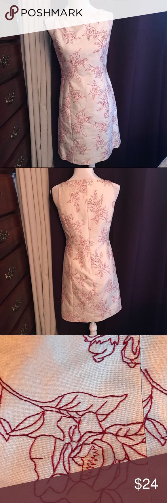 """So Nice, 🌺Ann Taylor🌺 Off white with red thread embroidered flowers in the fabric. 🌺Worn Once. 🌺.  Size 4 Petite, 35"""" long, fully lined. Has bra strap holder snaps on the shoulders. 🌺 76% cotton, 24% Silk.    Ann Taylor. Ann Taylor Dresses"""