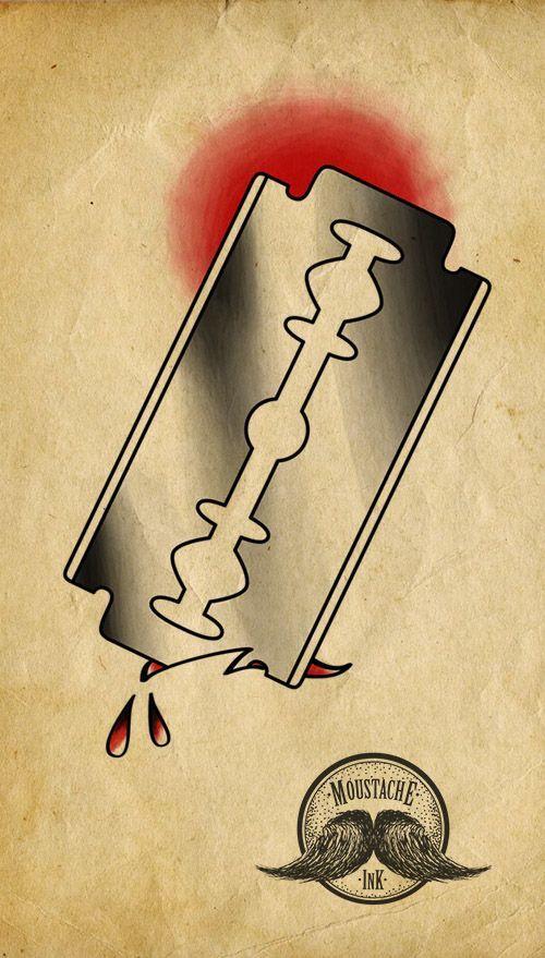 Lâmina old school Ilustração feita por mim.    Old school razor blade Ilustration by me: