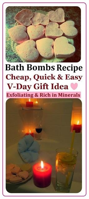 DIY spa Heart Bath Bombs Recipe, How to Make spa Products CHEAP, EASY  QUICK! More Spa DIYs on www.MariaSself.com Homemade Gift Idea for Saint Valentine's Day, Birthday, Mother's Day or Christmas