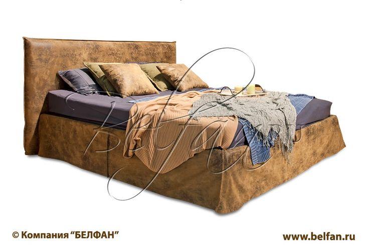 Мягкая кровать Джонни с подъемных механизмом, ортопедической решеикой и мягким изголовье. Каркас кровати (спинка и основание) выполнен из массива берёзы без использования ДСП.