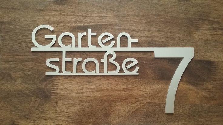 Hausnummern - Hausnummer mit Straßennamen - 40cm breit - ein Designerstück von bergfrieden-steel bei DaWanda