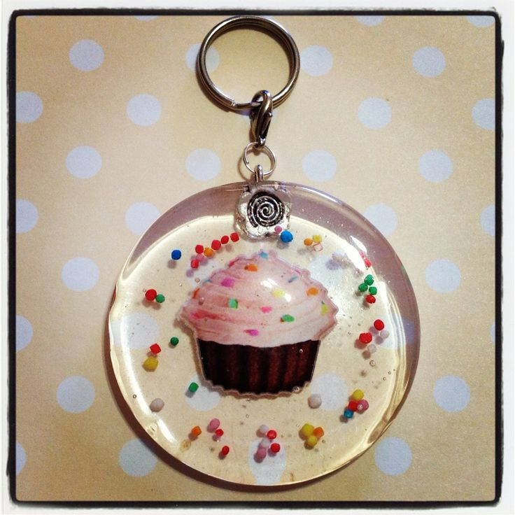 A sprinkle cupcake resin keychain to hang all your keys from! Actual candy sprinkles are also embedded in the resin, and this keychain is approx. 5.5cm in diamater, and 0.5cm thick.    Given the preserving nature of the resin, the candy sprinkles will not 'go off'. Resin is used to embed things s...
