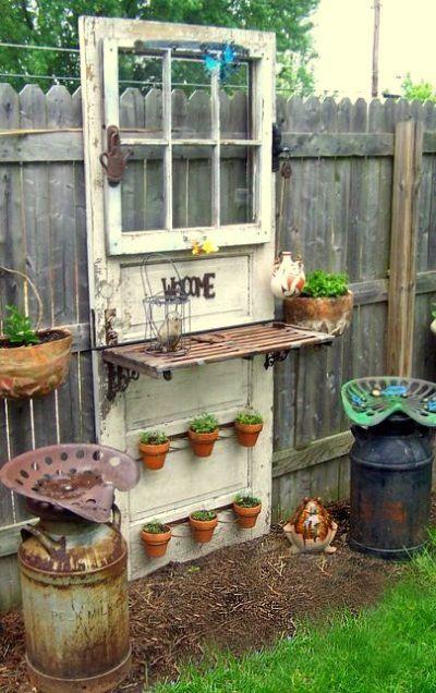 Turn an old door into a fabulous garden shelf diy for How to decorate a garden gate