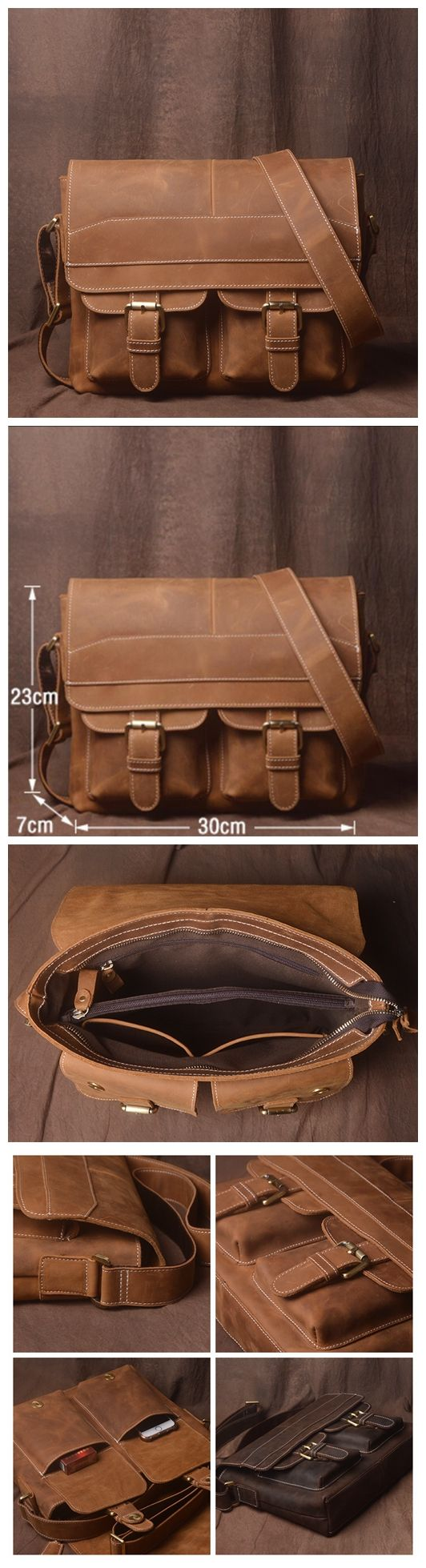 Handmade Genuine Leather Messenger Bag, Handmade Leather Bag, Business Bag JZ004