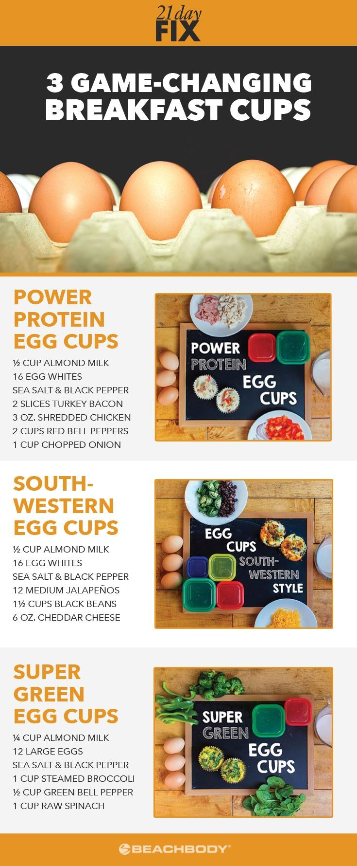 Mornings can be hectic. Whip up any of these easy breakfast (or lunch!) egg muffin recipes for 21-Day Fix-approved nutrition on-the-go! Breakfast // healthy breakfast // egg cups // healthy eating // high protein // 21 Day Fix // 21 Day Fix Recipes // Beachbody // Beachbody Blog