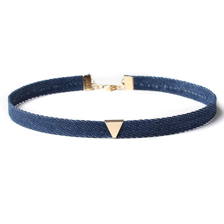 Cheap chokers necklaces for women, Buy Quality choker necklace directly from China necklaces for women Suppliers: 	  	2016 New Blue Denim Choker Necklace For Women Gold Triangle Chokers Chocker Collier ras de cou colar bijoux fem