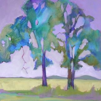 Daily Painting, Oaks on Crooked Lane, contemporary abstracted tree painting, painting by artist Carolee Clark. Color