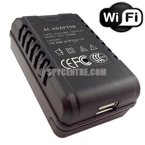 WiFi AC adapter hidden spy camera, video motion recording, view your camera live anywhere, 1920x1080 record resolution, easy download to a Mac or PC.