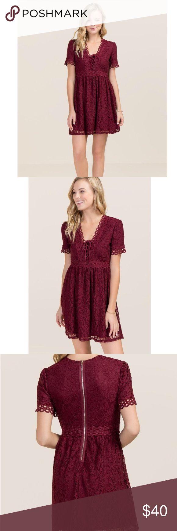 Francesca's wine lace up dress NWT Francesca's wine colored crochet lace up dress. Zips up back. Size XS Francesca's Collections Dresses Mini