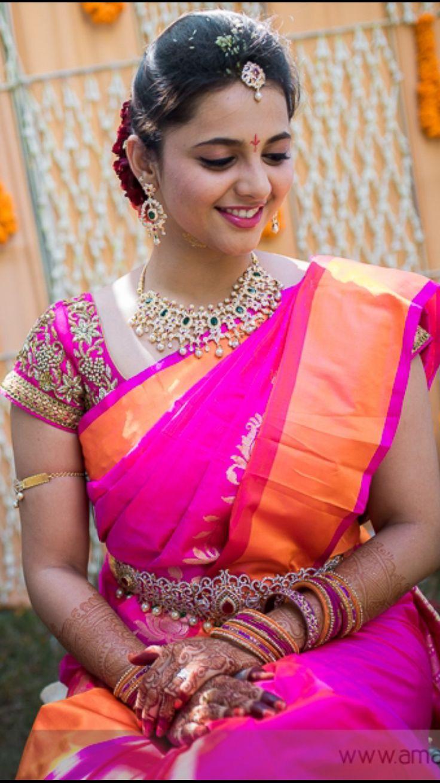 Telugu Bride Tamil Bride Diamond Bridal Jewellery Kanchi Uppada saree Blouse Embroidery