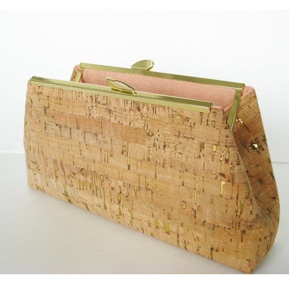 f16fee9f59d Cork Clutch Bag with Gold accents including Purse Chain - Rose Gold Lining  - Ecofriendly - Vegan Lea