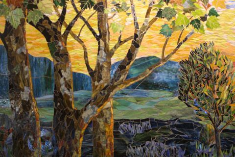 mosaic landscape quilt | Sycamore tree bark close up by Yulia Hanansen I am in awe of her ...