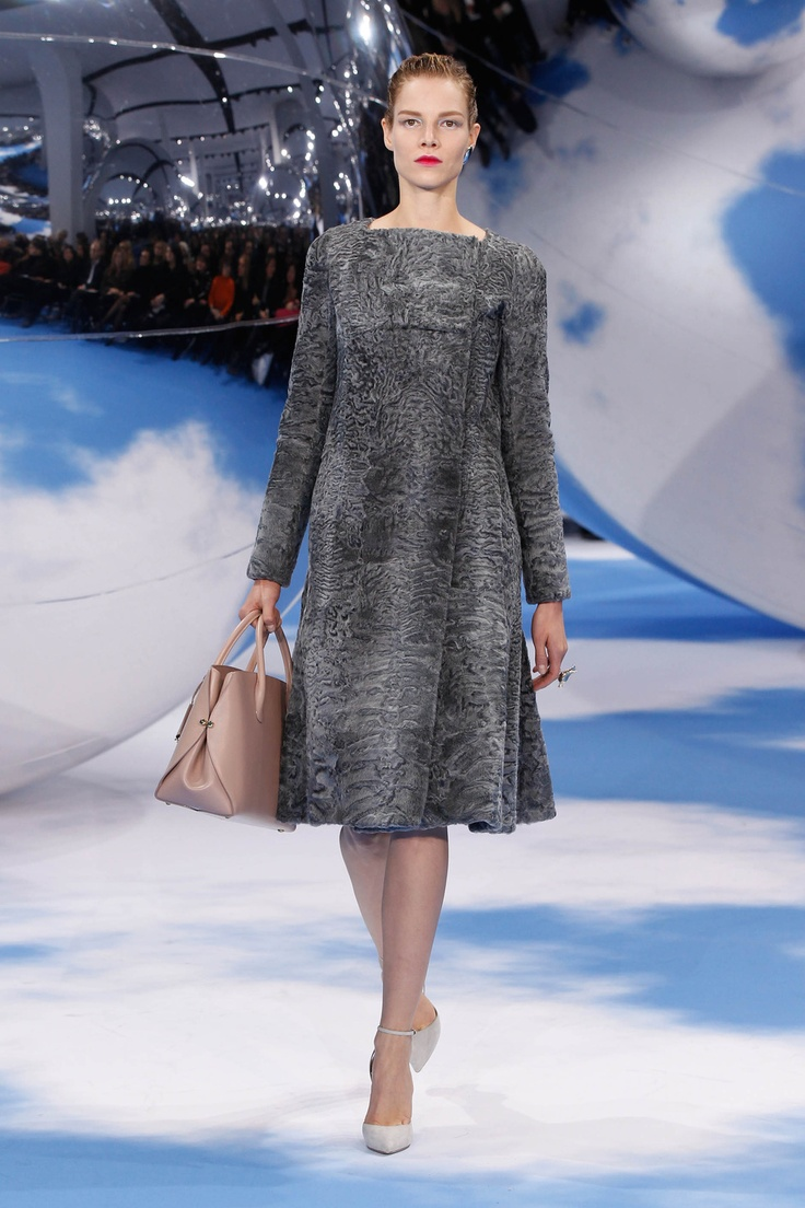 Dior Autumn-Winter 2013 Ready-to-Wear – Look 35: grey astrakhan coat with pale grey silk body. Discover more on www.dior.com #Dior#PFW
