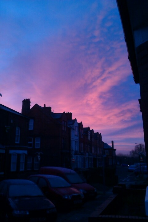 Lovely pink sky over Warrington town centre