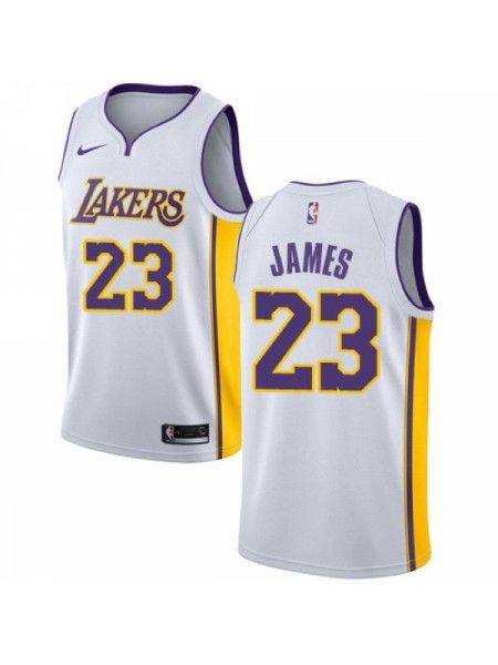 Los Angeles Lakers  23 LeBron James White Swingman Jersey Maillot Lebron  James ee58fb251