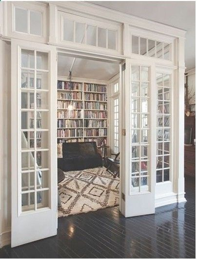 french doors into a library.