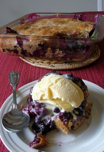 Fresh Blueberry Pudding Cake... ok so it's the end of February...but we have thought of this, and have many quarts of fresh blueberries in our freezer from a local blueberry farm...so it will feel like July, and a welcome feeling of fresh fruit in our tummies !