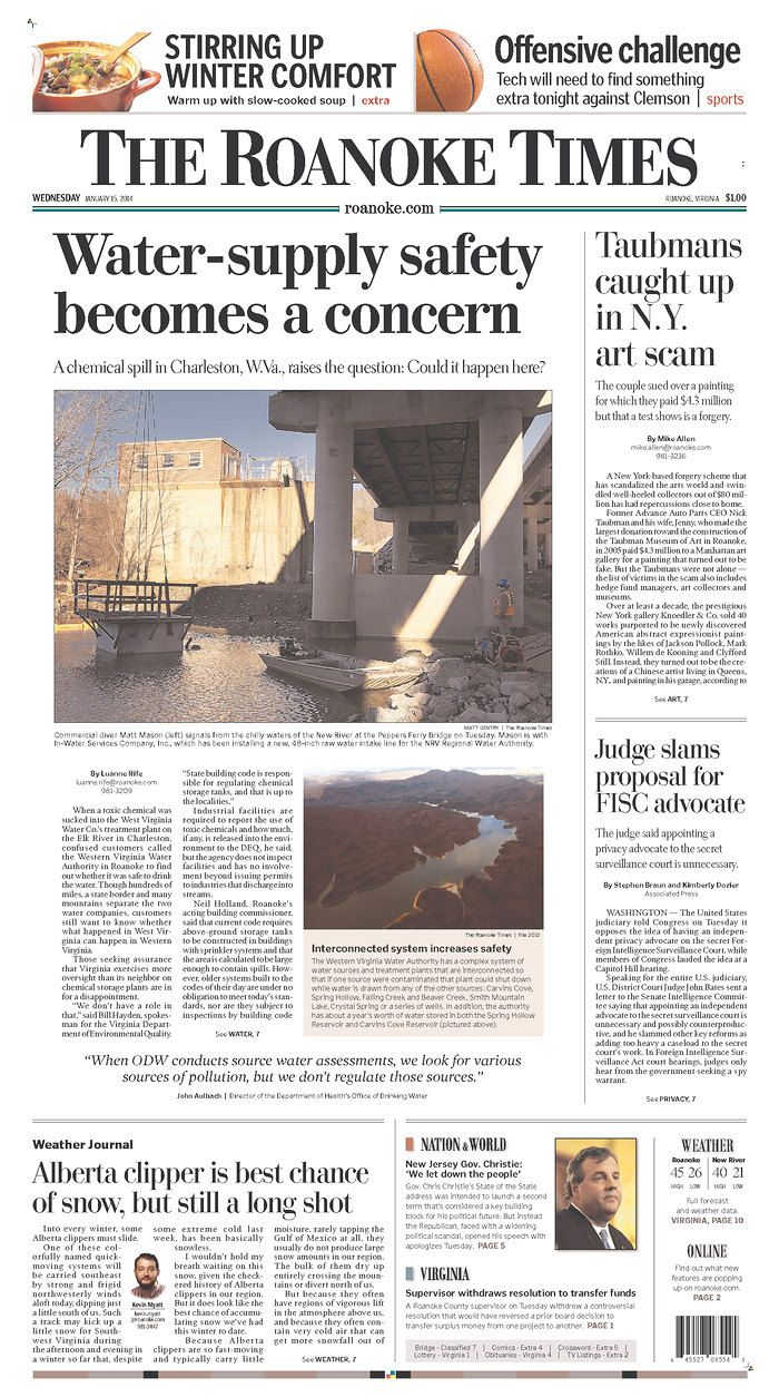 The Roanoke Times front page: Jan  15, 2014  Sign up for a digital