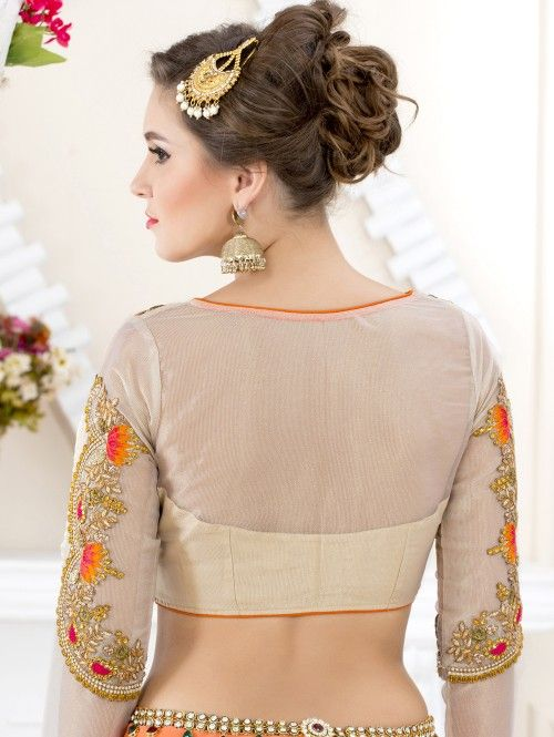 Off White Art Silk Blouse with Resham Embroidery Work