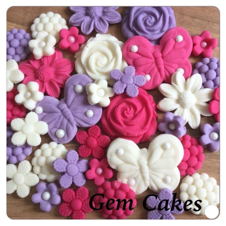 Edible baby Shower christening Pink Lilac and Ivory Flowers and Butterflies cupcake toppers decorations for Girls