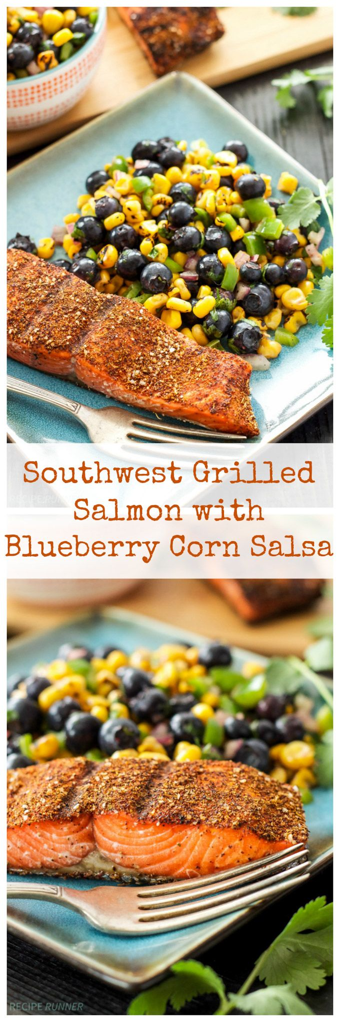 Southwest Grilled Salmon with Blueberry Corn Salsa | Blueberry and corn salsa is the perfect side dish alongside this grilled salmon!