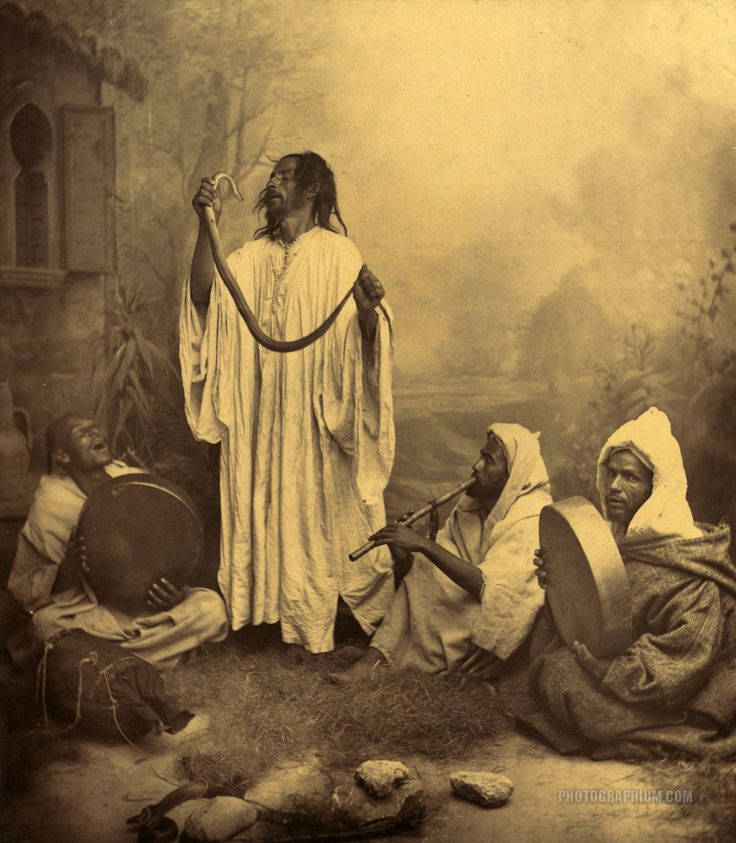 Morocco. 1860-1900   //  Snake charmers. Tangier, Morocco. 1860-1900