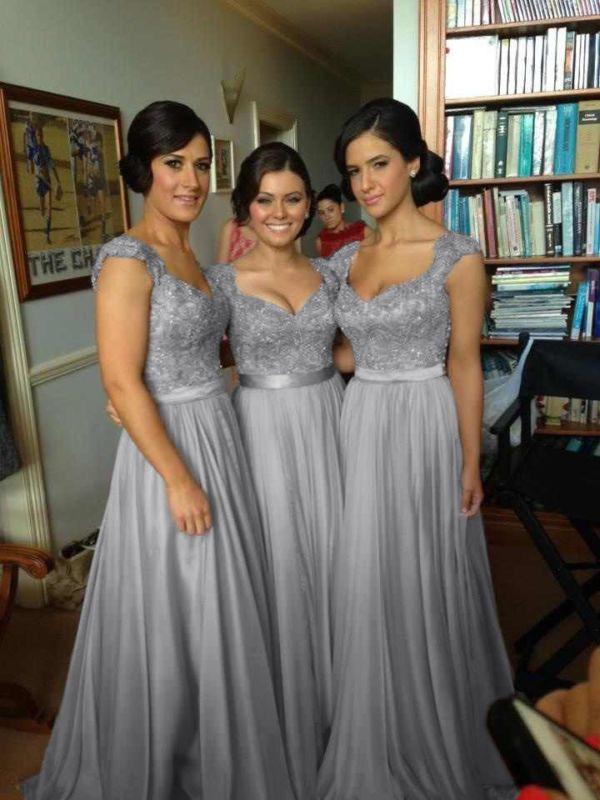 Lang Ballkleid Abendkleid,Hochzeitskleid Brautkleid,Brautjungfer Gr:32-42
