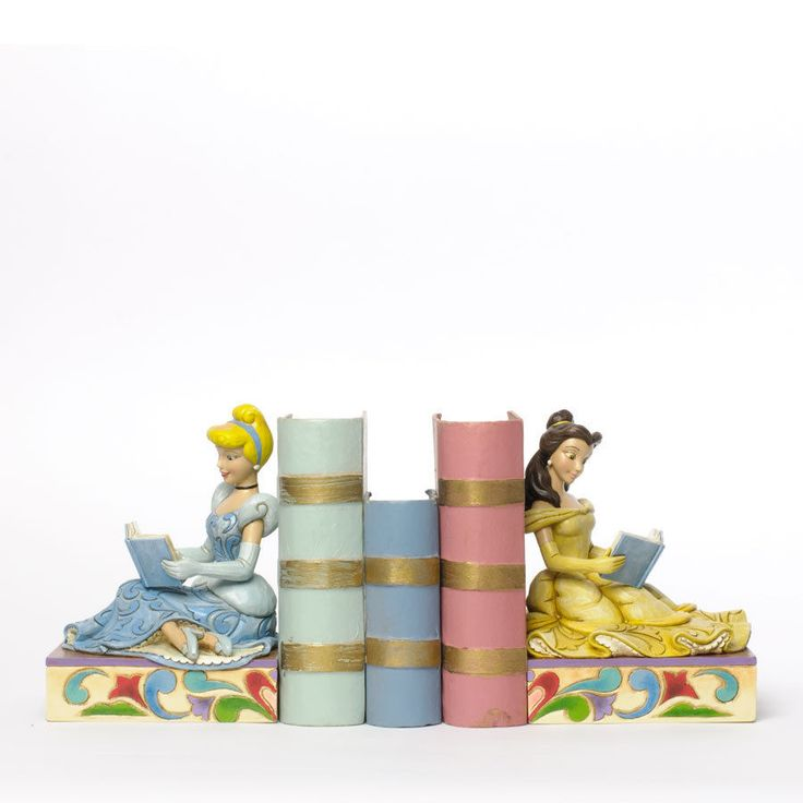 Jim Shore Disney Princesses Cinderella and Belle Reading Bookends 4033970 New